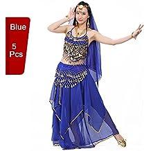 bellyqueen 5 Pcs Vestido Danza del Vientre Trajes establece Indian Dance rendimiento las mujeres profesionales,
