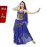 Traje profesional para danza del vientre / danza de la India de BellyQueen, conjunto de 5 piezas, para mujer, azul, talla única