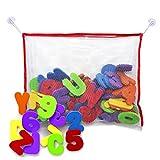 Lettere e numeri da bagno in schiuma, con borsa in rete di alta qualità per riporre i giocattoli - gioco educativo, non tossico e divertente per i bambini! immagine