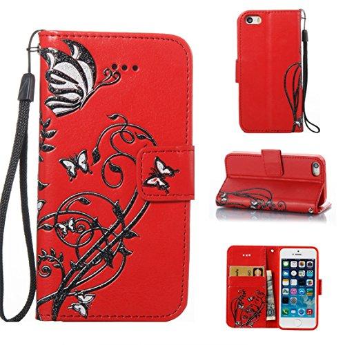 Apple iPhone 5/5S Coque, Voguecase Étui en cuir synthétique chic avec fonction support pratique pour Apple iPhone 5 5G 5S SE (Papillons VI-Papillons noir/Rouge)de Gratuit stylet l'écran aléatoire univ Papillons VI-Papillons noir/Rouge