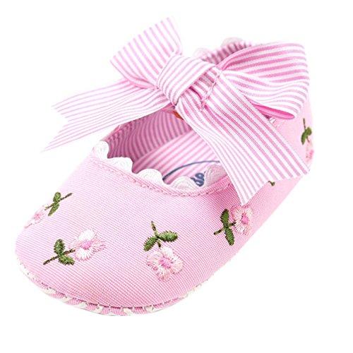 FNKDOR Baby Mädchen Erstlingsschuhe Stickerei Blume Mode Erste Schuhe(0-6 Monate,Pink)