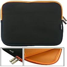 Emartbuy® Negro / Naranja Funda Case Cover Sleeve Impermeable con Cremallera de Neopreno SuaveWith Naranja Interior & Cremallera apto para Teclast X16 Power 11.6 Pulgada Tablet ( 11.6 - 12.5 Pulgada Tablet Chromebook Laptop )