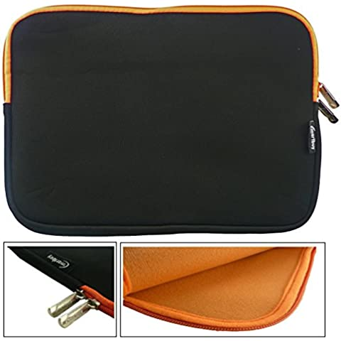 Emartbuy® Xoro PAD 10W6 Windows Convertible Tablet PC 10.6 Inch Negro / Naranja Funda Case Cover Sleeve Impermeable con Cremallera de Neopreno Suave With Naranja Interior con & Cremallera ( 10-11 Inch eReader / Tablet / Netbook