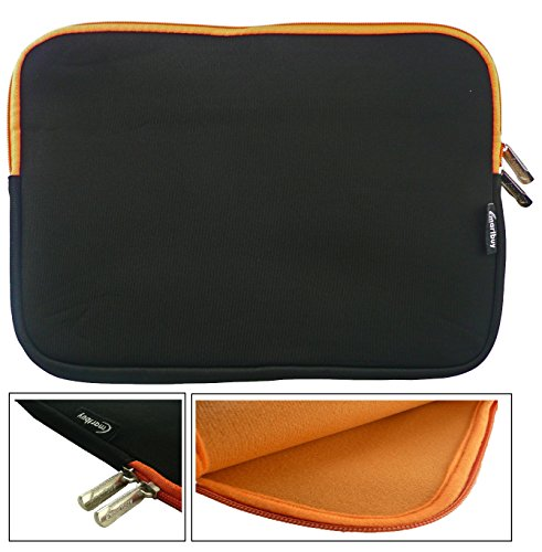 Emartbuy® Schwarz / Orange Wasserdicht Neopren weicher Reißverschluss Kasten Hülsen Abdeckungs Mit Orange Interieur & zip geeignet für Dell Latitude 3550 15.6 Zoll Laptop ( 15-16 Zoll Laptop / Notebook / Ultrabook )