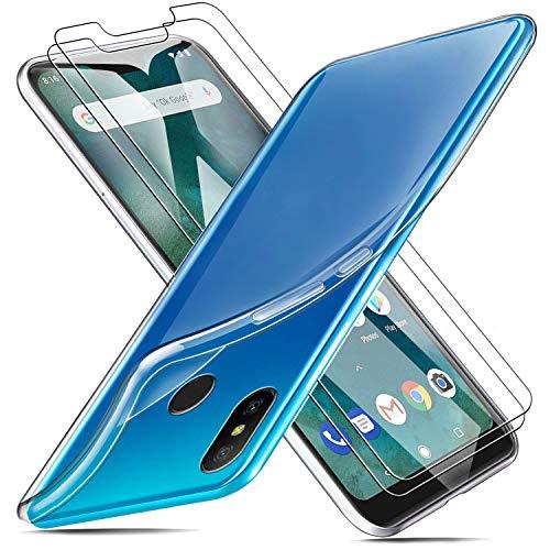 MICASE Funda para Xiaomi Mi A2 Lite + 2 X Protectores de Pantalla in Cristal Templado, Carcasa Silicona Transparente Protector Suave TPU Ultra Fino Anti-Rasguño Anti-Golpes Case Caso