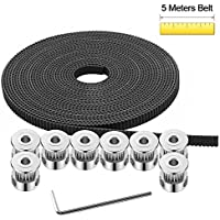 Doris Direct 3d impresora correa dentada 5 m GT2 Timing cinturón + 8pcs 5 mm 20teeth Timing Polea Rueda + 16 tornillos + 1 pcs hexagonal llave para 3d Printing CNC partes