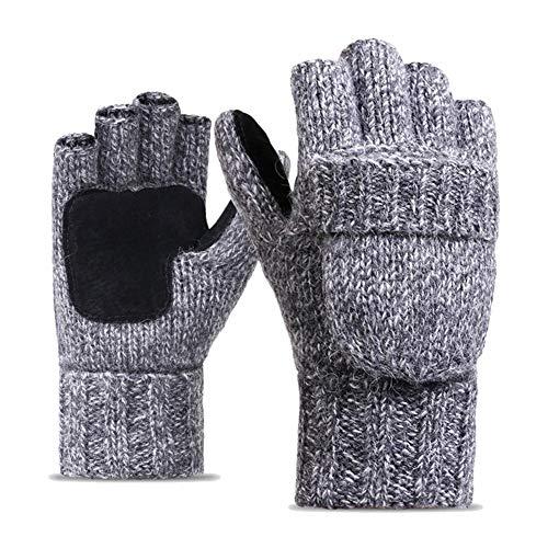 Waysad guanti a maglia mezza dita coreano flip uomo donna inverno lana più velluto in pelle spessa caldo guanti da equitazione all'aperto