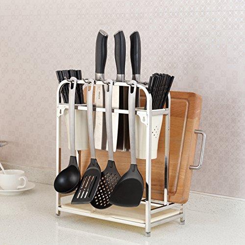 Cuisine multifonctions Stockage Pan Pot Rack, planche à découper en acier inoxydable, étagère, blanc Outil louche Cuillère Hanger, 32,5*17*27cm