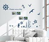 ufengke Azul Marino Hipocampo Vida Las Estrellas de Mar de Algas Marinas Pegatinas de Pared, Sala de Estar Dormitorio Removible Etiquetas de La Pared / Murales