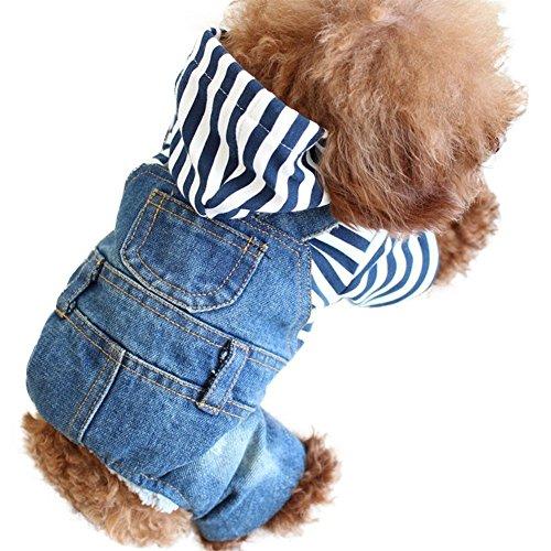 Denim Jumpsuit Kostüm - SILD Coole Vintage Washed Denim Jacke Jumpsuit Blau Jean Kleidung für kleine Haustiere Hund Katze/3 Styles XS-XXL