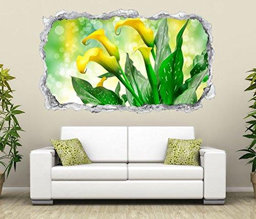 3D Wandtattoo Blume Calla gelb Lilien Blumen grüne Blätter Wand Aufkleber Durchbruch Stein Wandbild Wandsticker 11N090, Wandbild Größe F:ca. 97cmx57cm