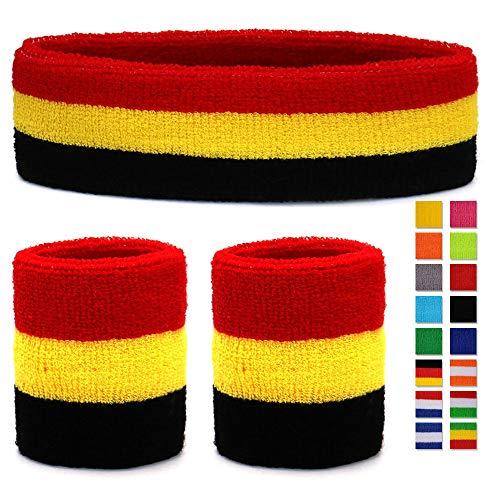 HikBill Schweißbänder Set inkl Sport Stirnband und Handgelenk Schweißbänder für Laufen Fahrrad Joggen Tennis Fußball (Black/Red/Yellow)