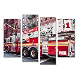 islandburner Bild Bilder auf Leinwand New York Fire Truck Feuerwehr Auto Poster, Leinwandbild, Wandbilder