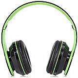 Leelvis pliable sans fil Bluetooth Over-Ear Écouteurs stéréo casque et micro carte TF, Green