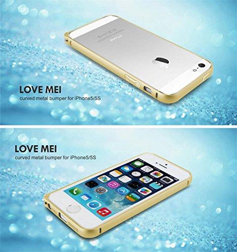 Love Mei Schutzhülle Bumper Rahmen aus Metall Ultra Fine aus Aluminiumlegierung de Luxe für iPhone 5/5S Gray+Golden