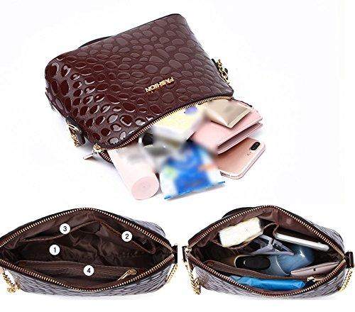 Sacchetto di cuoio luminoso creativo selvaggio creativo, zaino obliquo, mini sacchetto di spalla, pacchetto delle ragazze coreane ( Colore : Blu zaffiro ) Vino rosso