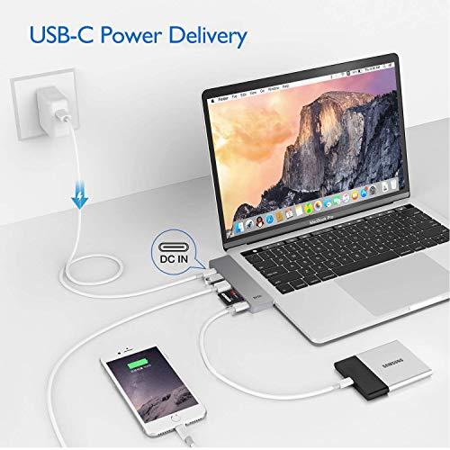"EKSA USB C Hub Adapter, Upgraded Aluminum 7 in 1 Type C Hub for MacBook Pro 13"" and 15"" 2016/2017/2018, USB C to HDMI, Thunderbolt 3 &TF/SD Card Reader, USB-C Power Supply, 2 USB 3.0 Ports Image 3"