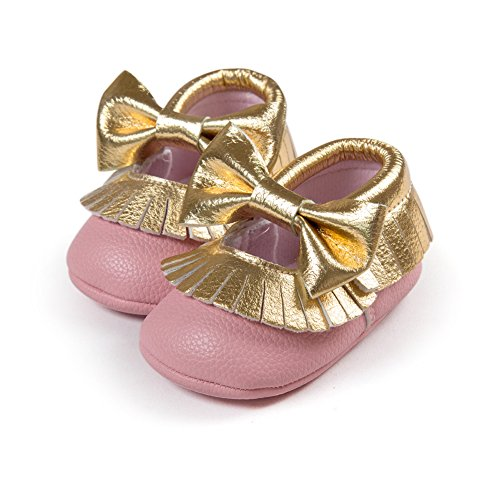 Fire Frog  Baby Mary Jane Shoes, Baby Mädchen Lauflernschuhe Pink Gold