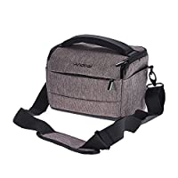 Andoer DSLR Camera Shoulder Bag Cuboid-shaped Portable Fashion Polyester Camera Case for Canon Nikon Sony FujiFilm Olympus Panasonic (Brown)