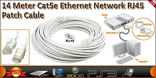 14Meter CAT5E UTP-Ethernet-Netzwerk RJ-45(M), weiß, mit 2Ethernet-Kabel, RJ45Stecker, Suite für 1000Mbit/s) -