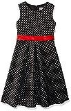 MUADRESS MUA6003 Mädchen Vintage Kleid Babykleider Polka Festlich 50er Kleid Schwarz Kleine Weiß Punkte L