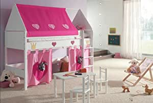 hochbett kinderbett 90x200 buche massiv prinzessin amazon. Black Bedroom Furniture Sets. Home Design Ideas
