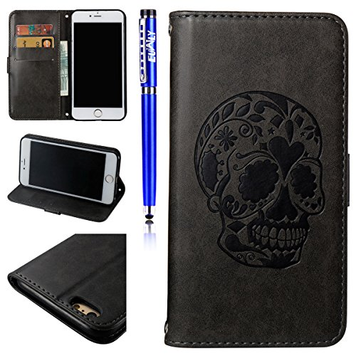 Cover per iPhone 5S/iPhone SE, EUWLY Portafoglio Custodia in Pelle Protettiva Cover Case Per iPhone 5S/iPhone SE Premium Retro Morbido PU Leather Wallet Cover Supporto Stand Fuction Chiusura Magnetica Cranio,Nero