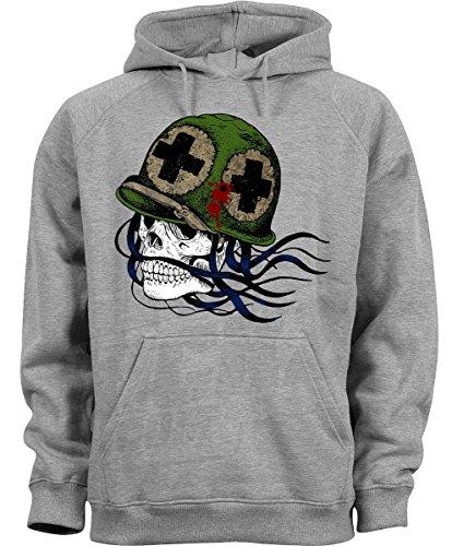 Big Head Skull Army Awesome Grey Melange Design Pullover Men Women Uomo Donna Unisex Grey Melange Hoodie