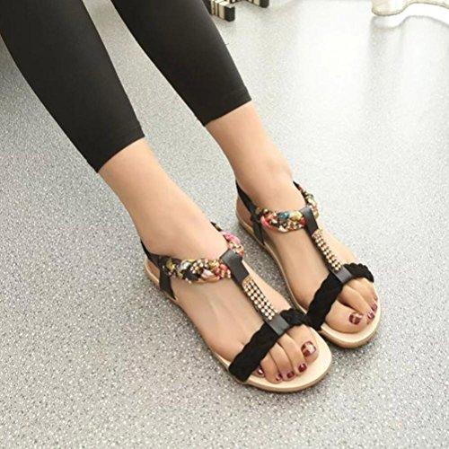 WOCACHI Damen Sommer Sandalen Frauen Sandalen Elastische Strap Bohemian Style Schuhe Casual Komfort Flache Sandalen Schwarz
