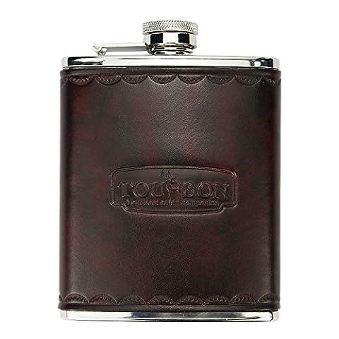 tourbon en acier inoxydable Pot de vin bouteille 6oz Flasque en cuir vintage pour jeu Shooters hommes de