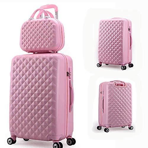 HRUIIOIH 20-Zoll-Kofferset, Diamond Grain-Koffer mit Reißverschluss Multifunktionsverriegelung für Radschlösser Kosmetiktasche mit großer Kapazität für Koffer (inklusive 14-Zoll-Tasche),Pink