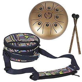 supertop Mini Steel Percussion Instrument - ideal für Camping, Yoga, Meditation, Musiktherapie - D Akebono Pentatonic mit Free Gepolsterte Reisetasche Zungentrommel 8