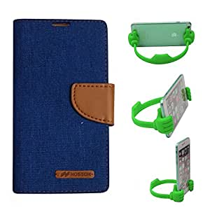 Aart Fancy Wallet Dairy Jeans Flip Case Cover for Redmi2S (Blue) + Flexible Portable Mount Cradle Thumb OK Designed Stand Holder By Aart Store.
