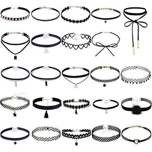 Tpocean 24 stück justierbare Weinlese-Spitze-Tätowierung-Mädchen-Choker-gesetzte gotische Samt-Halsketten -