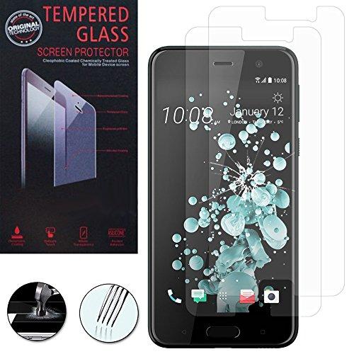 VComp-Shop® 2x Hochwertige gehärtete Panzerglasfolie für HTC U Play 5.2