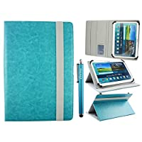 Emartbuy Universal 10-11 Inch Turquoise Multi Angle Folio Wallet Case Cover With Card Slots Grey Elastic Strap and Stylus Pen Suitable for Selected Devices Listed Below