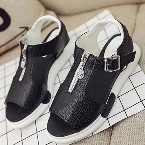 TAOFFEN Femmes Mode Peep Toe Sandales T-strap Compense Slingback Chaussures De Boucle Noir