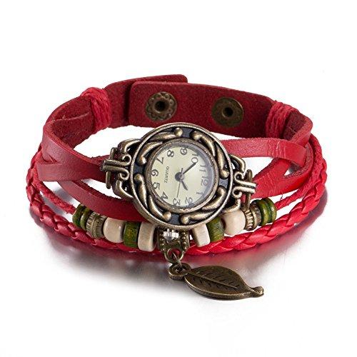 140b82ef5f83 Reloj Brazalete Analógico de Cuarzo de Mujer con Diseño en Forma de Hoja y  Correa de