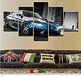 AnnBlue HD BMW M3 Noir Sport Voiture Impression sur Toile Encadrée Mur Art Oeuvre D'illustration Photo Photo Décoration 5 Pièces,Size 3,Canvas