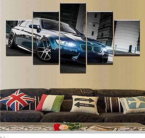 AnnBlue Hd BMW M3 Schwarz Sport Auto Leinwanddruck Gerahmte Wandkunst Kunstwerk Bild Foto Home Decoration 5 Stücke,Size 2,Canvas (Sport-bilder Gerahmt)