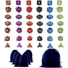 Goodlucky365 42 Dados Poliédricos-Serie Completa de 7 Dados en 6 Colores-42 Dados en 6 Pequeñas Bolsas de Dados-Grande Bolsa de Terciopelo Gratis Para Juego de Mesa Dungeons and Dragons Dado