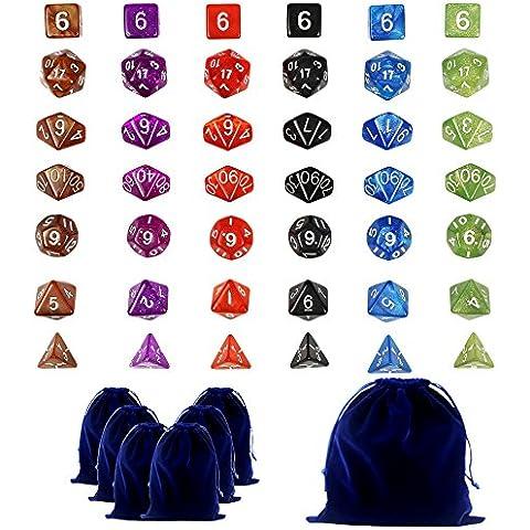 Goodlucky365 42 Dados Poliédricos En 6 Pequeñas Bolsas de Dados Conjunto Completo de 6 Dados en 10 Colores-Grande Bolsa de Terciopelo Gratis Para Juego de Mesa