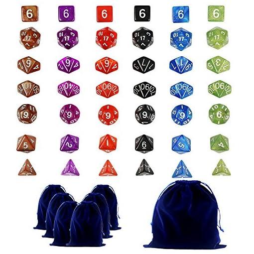 42-Polyedrische-Dice-Wrfel-Farbige-Wrfeln-in-6-Farben-42-Wrfeln-in-6-kleinen-Wrfeln-Beuteln-fr-Dungeons-und-Dragons