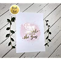 She Leaves a Little Sparkle Wherever She Goes Print Inspirational Quotes for Girls Room Wall Art