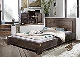 MASSIVMOEBEL24.DE Sheesham Möbel Holz massiv Bett 160x200 Palisander grau Massivmöbel Lackiert Metro Polis #136