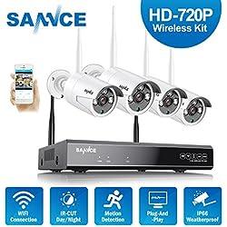 Kit de seguridad Inalámbrica 4 Cámaras de vigilancia (Onvif H.264 CCTV 4CH 1080P NVR wifi y 4 cámaras 1.0MP)-sin HDD