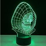 Optische Illusion 3D-Lampe, 7 Farbwechsel, kreativer Totenkopf, einzigartiges Nachtlicht, tolles Geschenk für Mutter und erstaunliche Schreibtischlampen für Papa, mehrfarbiges USB-betriebenes Licht