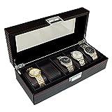 Karbonfaser-Effekt PU Leder 5Herren Uhren Organizer Speicherung und Display Fall von Aston of London®