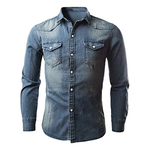 Auied Herren Freizeithemden Retro Denim Shirt Solide Cowboy Bluse Dünne Lange Oberteile (Boy City Party Kostüme)