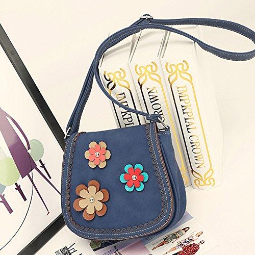 Elegante da Donna Vintage Borsa a Tracolla Borsetta Totes Borse Spalla con Piccoli Fiori Decorano Blu
